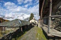 Gemeinschafts-Ofen, Cuneaz (Ayas-Tal, Nord-Italien) Stockfotos