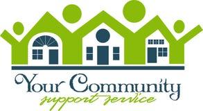 Gemeinschaftshaus und Leute-Ikone Stockbild
