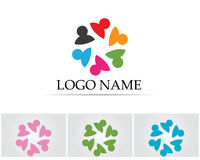 Gemeinschaftsleute-Gruppenlogo und Symbolschablone Stockfotografie