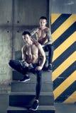 Gemella gli uomini muscolari che risolvono con la muto-campana Immagini Stock