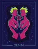 Gemelli del segno dello zodiaco sul fondo stellato del cielo di notte Fotografia Stock Libera da Diritti