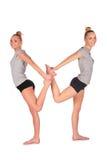 Gemelli gli equilibri della ragazza di sport retro a retro Fotografie Stock