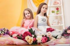 Gemelli graziosi che posano con i fiori in studio Immagine Stock