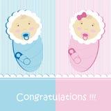 Gemelli neonato e ragazza Fotografia Stock