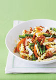 Gemelli pasta with asparagus and pancetta Royalty Free Stock Image