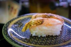Gemello del pesce dei sushi con wasabi in ristorante Fotografia Stock Libera da Diritti