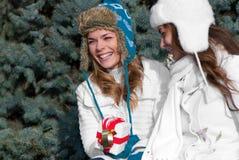 Gemelos alegres de las muchachas, en el parque Imagen de archivo libre de regalías