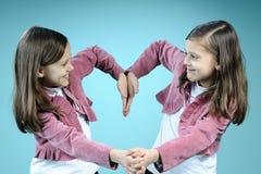 Gemelos blancos que crean el corazón de las manos Foto de archivo