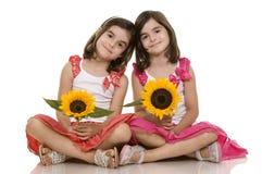Gemelos de las muchachas imagen de archivo