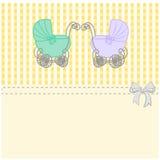 Gemelos del aviso de la fiesta de bienvenida al bebé, invitación o tarjeta en el cumpleaños, ejemplo del cochecito de bebé del vi Imagen de archivo