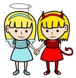 Gemelos del diablo del ángel Imagen de archivo libre de regalías