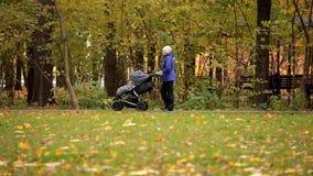 Gemelos en un cochecito de niño La mamá lleva La mujer con un cochecito hermana en el parque del otoño almacen de video