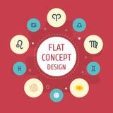 Gemelos planos de los iconos, cometa, pescados y otros elementos del vector El sistema de símbolos planos de los iconos de la ast ilustración del vector