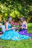 Gemelos sonrientes felices hermosos de las hermanas Foto de archivo libre de regalías