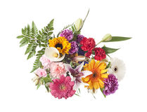 Gemengd bloemstuk op wit Stock Foto
