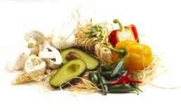 Gemengd fruit en veges geïsoleerdàop witte achtergrond Royalty-vrije Stock Afbeelding