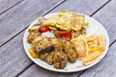 Gemengd Thais voedsel met rijst Stock Foto's