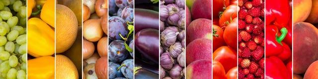 Gemengd van kleurenvruchten en groenten Vers rijp voedsel vector illustratie