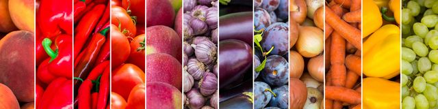 Gemengd van kleurenvruchten en groenten Vers rijp voedsel royalty-vrije illustratie