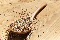 Gemengde die quinoa zaden op lepel van hout wordt gemaakt royalty-vrije stock foto's