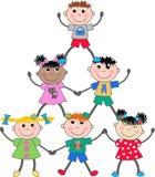 Gemengde etnische kinderen Stock Afbeelding