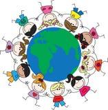 Gemengde etnische kinderen rond de wereld Stock Foto