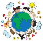 Gemengde etnische kinderen rond de wereld Royalty-vrije Stock Foto's