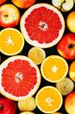 Gemengde feestelijke kleurrijke tropisch en citrusvruchten die over bla worden gesneden Stock Afbeelding