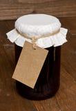 Gemengde fruitjampot met markering Royalty-vrije Stock Foto
