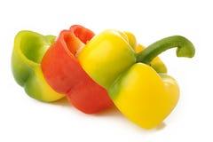 Gemengde groene paprika op witte achtergrond Royalty-vrije Stock Foto's