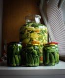 Gemengde groenten in een kruik en ingelegd cornichon Royalty-vrije Stock Fotografie