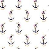 Gemengde het anker mariene kabel van het de zomer naadloze patroon royalty-vrije illustratie
