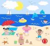 Gemengde jonge geitjes op het strand royalty-vrije illustratie
