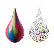 Gemengde kleurendruppeltjes Stock Afbeelding
