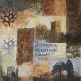 Gemengde media collage met kasteel en kerk Royalty-vrije Stock Afbeeldingen