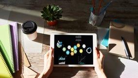 Gemengde media Gekleurde zakelijke toepassingpictogrammen op het apparatenscherm Marketing Strategie stock afbeeldingen