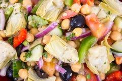 Gemengde Mediterrane salade met artisjok en kekers Stock Foto