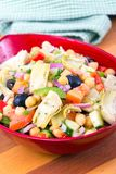 Gemengde Mediterrane saladekom met artisjok en kekers Royalty-vrije Stock Afbeelding