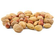 Gemengde noten, okkernoten, amandelen en hazelnoten Stock Foto's