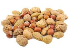 Gemengde noten: okkernoten, amandelen en hazelnoten stock fotografie