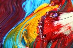 Gemengde olieverf met penseel Royalty-vrije Stock Fotografie