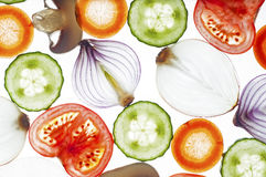 Gemengde plakken van verse paddestoel, tomaat, komkommer, ui, wortel Royalty-vrije Stock Foto