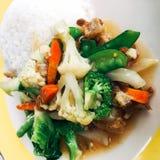 Gemengde rijst en gebraden vagetable stock foto