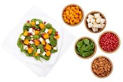 Gemengde salade en ingrediënten stock afbeeldingen
