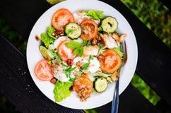 Gemengde salade met gebakken geitkaas en groenten Stock Afbeeldingen