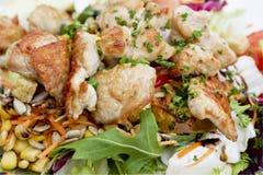 Gemengde salade met het vlees van Turkije, close-up Royalty-vrije Stock Afbeeldingen