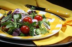 Gemengde salade op een gele plaat Stock Afbeelding
