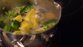 Gemengde verse groenten die in een metaalpot koken stock videobeelden