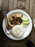 Gemengde zeevruchten gebraden rijst Stock Foto