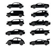 Gemensam enkel för konturuppsättning för plan bil logo vektor illustrationer